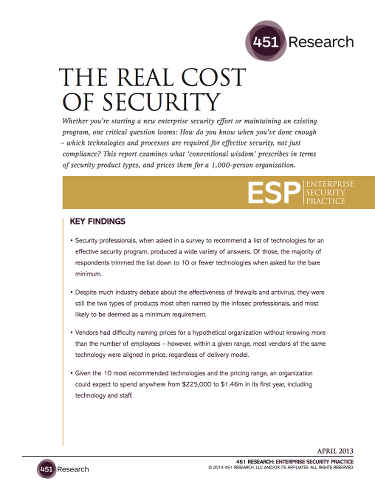 The Real Cost of Security front page