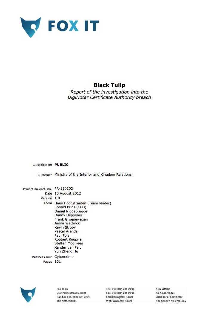 Black Tulip DigiNotar Intrusion Investigation
